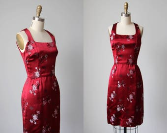 1950s Dress - Vintage 50s Dress - Ruby Red Silk Satin Jacquard Hong Kong Couture Wiggle Dress XS - Chinese New Year Dress