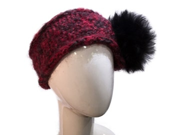 Knit Headband with black Fur in Red, Wool Headband Red with Black Alpaca Fur Pompom, Warm Headband red with fur, Fur and Wool Headwrap Red