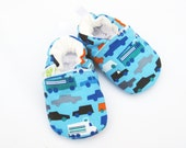 SALE Organic Vegan Blue Cars/ All Fabric Soft Sole Shoes / Made to Order / Babies