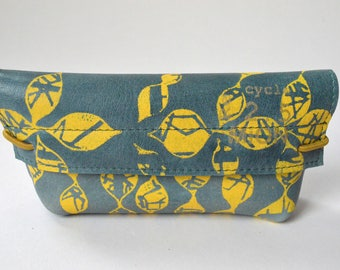 Leather case for glasses (blue leather with yellow print)