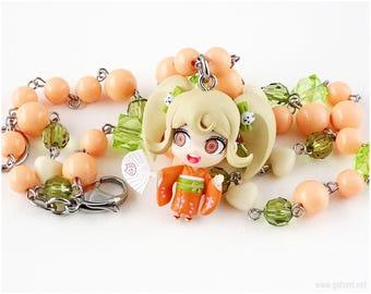 Danganronpa Hiyoko Saionji Figure Necklace, Peach, Green, Stainless Steel, Gamer, Waloli