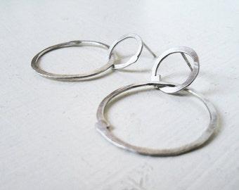 Sterling Silver 2 Flat Loops Earrings
