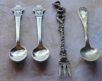 Vintage Collectible Silver/Gold Spoons Lot of 4 FREE SHIP