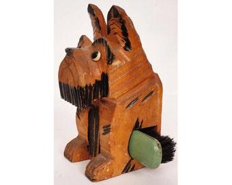 Vintage Art Deco SCOTTIE DOG Folk Art Carved Wood Wall Pocket Brush Holder