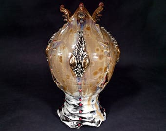 One of a Kind Handmade Crystalline Glazed Gold Brown Purple Red Black Mantis Head Inspired Ceramicgoddess Art Pottery Vase