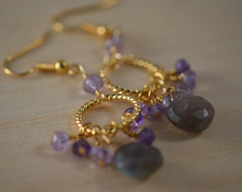Amethyst gemstones and Labradorite briolette on Gold Plated twisted hoop earrings. Handmade, wire wrapped, gemstone dangle earrings.