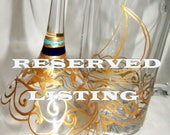 RESERVED Nautical Wedding Glassware; 4 Piece Hand Painted Glassware w Cake Knife Server Set