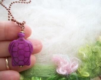 Turtle Necklace Orange Turtle Bead Copper Ball Chain Sea Turtle Terrapin Turtle Jewelry Turtle Necklace