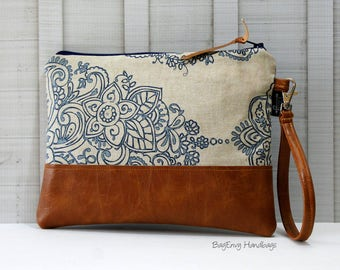 Grab N Go Wristlet Clutch - Mandala Paisley with Vegan Leather