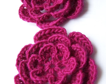 Flower crochet motif 3 inch orchid pink set of 2 wool