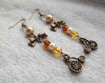 Long Drop Penny Farthing Steampunk Earrings, Vintage Look, Penny Farthing Charm, Steampunk Flower, Steampunk Jewelry