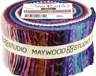 """Maywood Studio Java Batiks Berry - 40 strips 2.5"""" wide - 100% Cotton Fabric Jelly Roll Strips Blue, Purple, Pink Berry Colors"""