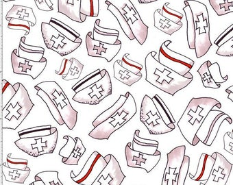 Nurse Fabric Happy Hats Print 100% Cotton Fabric Black and White Nursing Hats with Red by Loralie Designs - By the Yard