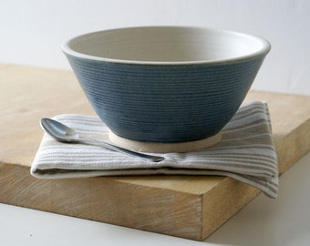 Handmade stoneware serving bowl - wheel thrown bowl in vanilla cream and smokey blue