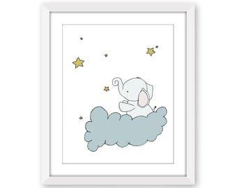 Elephant Nursery Art Print -- Baby Elephant Star Cloud -- Nursery Decor -- Elephant Art Print -- Children Art Print -- Kids Wall Art