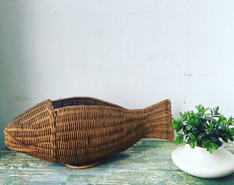 Vintage Mid Century Modern Wicker Fish Sculpture Basket Planter