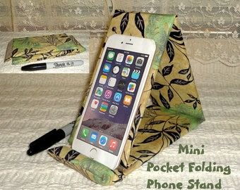 """Mini Soft iPhone Stand Folds to 3/4"""" Thick / Sturdy to Hold An IPad Too / Pocket Phone Stand"""