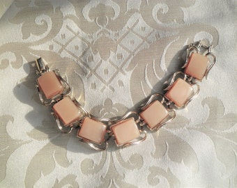 Vintage Coro Beige Light Brown Thermoset Mid Century Bracelet