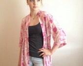 CLEARANCE Sheer Kimono, Pink Patterned Kimono, Kimono Sleeve, Flowy Cardigan, Pink Duster, Festival Kimono, Boho Cardigan, See Through Kimon
