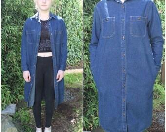 Button Down Dress, Jean Dress, Calvin Klein, Denim Shirt Dress, Denim Duster, Shirt Dress, Oversized Jean Jacket Hipster 90s Grunge