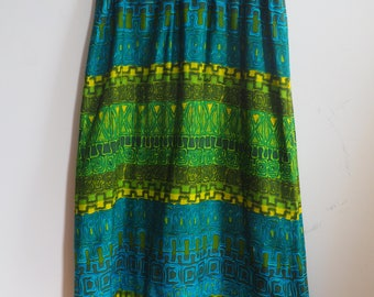 Groovy Psychedelic 1960s Hippie Print Maxi Long Skirt