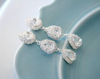 Bridal Earrings -  Triple Rhinestone Teardrop