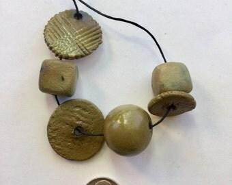 Matte green handmade porcelain beads