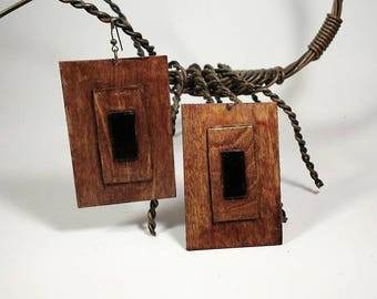Anytime Rectangular Wooden Earrings Geometric Handmade Statement Afrocentric Tribal  mPERFEKtion Earrings for Women by Crittique - #mPER67
