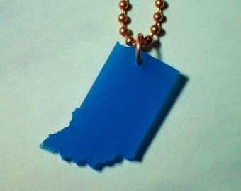 Blue Indiana Necklace on Copper Chain- The Hoosier State