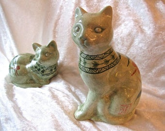 Vintage Asian Cats Green Crackle Glaze Ceramic Figurines- Rare Collectible Cat Statues With Dragonflies and Bamboo Shoots Design