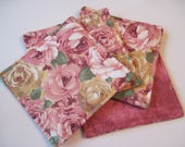 Pink Rose Coasters Reversible set of 4 or 6  Pink Coasters Spring Shabby Chic Coasters Cabbage Rose Mug Rugs Rose Table Decor Pink Roses