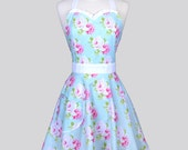 Sweetheart Retro Apron / Tanya Whelan Pink Roses on Soft Aqua Blue and White Dots Womens Vintage Full Cute Pin Up Apron Gift for Her