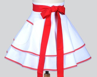 Womens Waist Apron , Retro Ruffled White with Pocket and Trim Options Double Layer Kitchen Apron or Hostess Wedding Womens Apron Gift