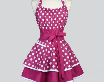 Flirty Chic Apron . Woman Sexy Berry Purple and White Polka Dots with Retro Vintage Kitchen Cute Ruffled and Lined Pocket