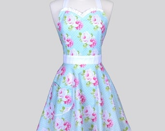 Sweetheart Womens Retro Apron / Tanya Whelan Pink Roses on Soft Aqua Blue and White Dots Vintage Style Apron with a Cute Full Skirt