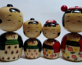 Kokeshi Doll Family lot of 4