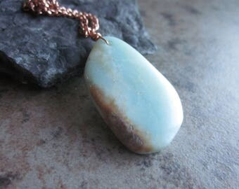 Raw Amazonite Slice Layering Necklace, Pastel Blue Natural Stone Pendant, Antiqued Copper Chain, Throat Chakra, Geology Gift, Reiki Stone