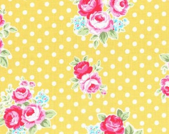 Flower Sugar Fall 2016 Sweet Carnival Collection Cotton Fabric by Lecien 31375-50  Pink Yellow Rose on Dot