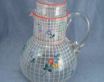 Vintage Painted Glass Tumble Up Four Leaf Clover Flowers Lattice Pitcher & Glass Set