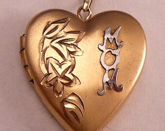 14K Gold Filled Locket MOM Engraved Flowers Vintage GF Heart Pendant