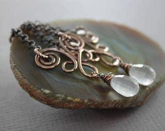Pastel rose quartz chandelier earrings in Celtic style - Copper earrings - Drop earrings - Boho earrings - Statement earrings - ER074