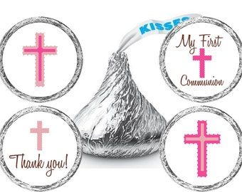 Girl Communion Stickers - Communion Candy Stickers - Communion Favor Stickers - Communion Candy Labels - Set of 324 Stickers