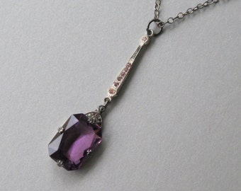 Dainty 1920s Art Deco Necklace Purple Amethyst Glass Faceted Pendant Sterling Setting & Chain Tiny Accent Rhinestones