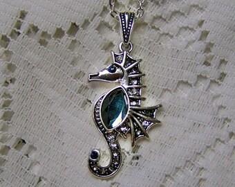 Seahorse Necklace - Seahorse Pendant - Rhinestones - Destination Beach Wedding - Silver - Bride - Beach Jewelry - Silver & Blue Crystals