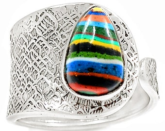 Rainbow Calsilica Sterling Silver Gemstone Ring Size 8