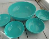 Vintage Salad Bowl Set Turquoise Melamine