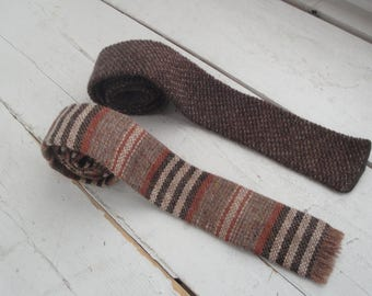 Mens Vintage Necktie Knit Wool Brown Skinny Stripe Flat End