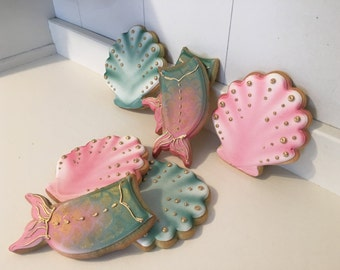 Mermaid tail and seashell cookies - 1 dozen