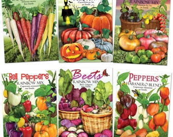 Rainbow Vegetable Seed Packet Assortment (Over 35 Varieties Of Vegetables)  Non GMO Seeds