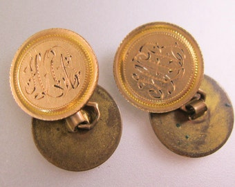 Edwardian Gold Filled Monogrammed HAB Cuff Links Signed CLP Co. Antique
